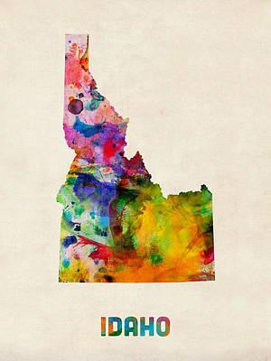 Geography Digital Art - Idaho Watercolor Map by Michael Tompsett