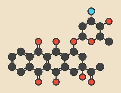 Idarubicin Cancer Drug Molecule Print by Molekuul