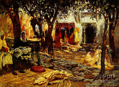 Islam Painting - Idle Moments An Arab Courtyard by Celestial Images