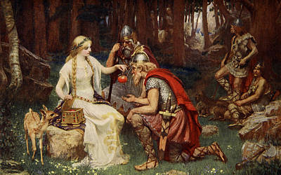 Warrior Goddess Drawing - Idun And The Apples, Illustration by James Doyle Penrose