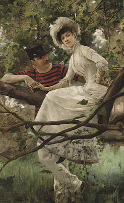 Flirtation Painting - Idyll by Carl Larsson
