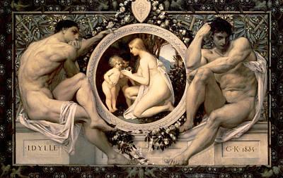 Nudes Painting - Idylle by Gustav Klimt