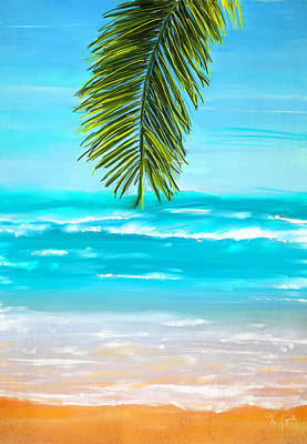 Abstract Beach Art Abstract Beach Painting - Idyllic Place by Lourry Legarde