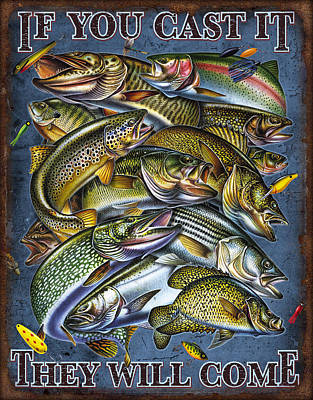 Musky Painting - If You Cast It by Jon Q Wright