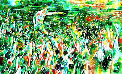 Stadium Crowd Painting - Iggy Pop Stadium Live Concert - Watercolor Painting by Fabrizio Cassetta