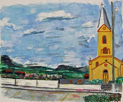 Grande Painting - Igreja Do Cerro Branco by Greg Mason Burns