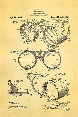Brickie Photograph - Ihrcke Welding Goggles Patent Art 1917 by Ian Monk