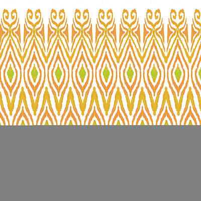 Contemporary Tribal Art Painting - Ikat Tangerine by Amy Sia