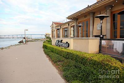 Il Fornaio Italian Restaurant In Coronado California Overlooking The San Diego Coronado Bridge 5d243 Print by Wingsdomain Art and Photography