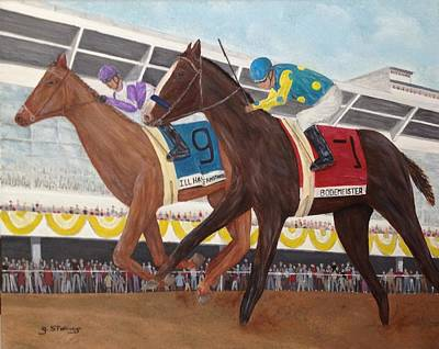 Tripple Painting - I'll Have Another Wins Preakness by Glenn Stallings
