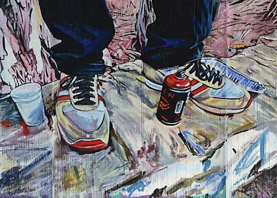 Detail Mixed Media - Illegal Street Art Worker by Joachim G Pinkawa