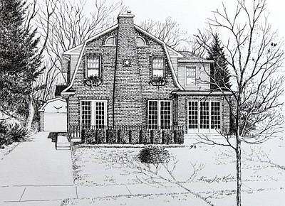 Pen And Ink Drawing Drawing - Illinois Home Portrait Drawing by Hanne Lore Koehler