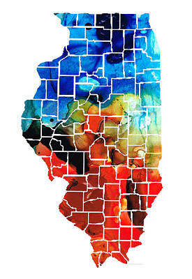 Chicago Bulls Painting - Illinois - Map Counties By Sharon Cummings by Sharon Cummings