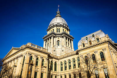 Illinois State Capitol Building In Springfield Print by Paul Velgos