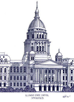 Capitol Building Mixed Media - Illinois State Capitol by Frederic Kohli