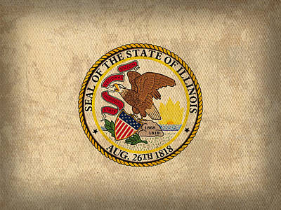 Illinois State Flag Art On Worn Canvas Print by Design Turnpike