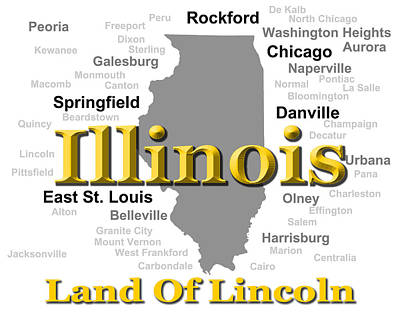 Sterling Digital Art - Illinois State Pride Map Silhouette  by Keith Webber Jr