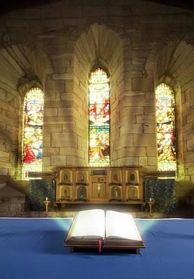 Illuminated Bible In Church Print by John Short
