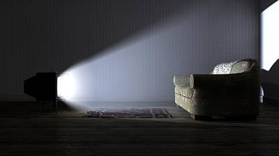 Dramatic Digital Art - Illuminated Television And Lonely Old Couch by Allan Swart