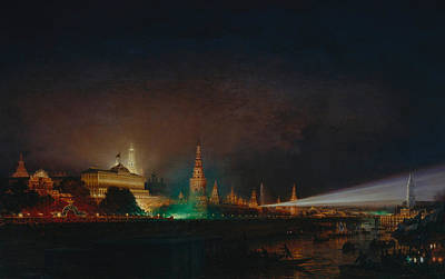 City At Night Painting - Illumination Of The Kremlin by Aleksei Petrovich Bogolyubov