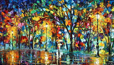 Park Oil Painting - Illusion  by Leonid Afremov
