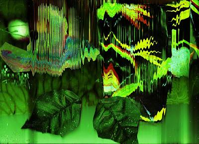 Outrageous Mixed Media - Illusions At  Green Midnight by Anne-Elizabeth Whiteway