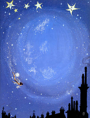 Famous Book Painting - Illustration For Peter Pan By J M Barrie by Anne Grahame Johnstone