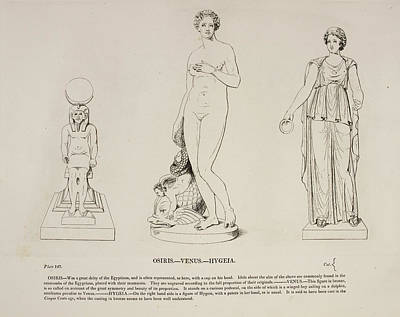 Illustration Of Human Figure Statues Print by British Library
