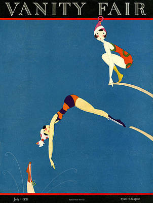 Illustration Of Women Jumping Off Diving Boards Print by A. H. Fish