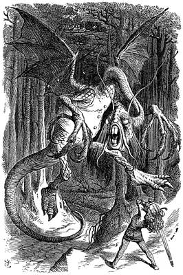 Jabberwocky Painting - Illustration To The Poem Jabberwocky  by Celestial Images