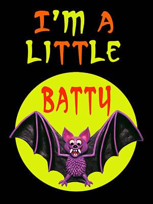 Halloween Card Digital Art - I'm A Little Batty by Amy Vangsgard