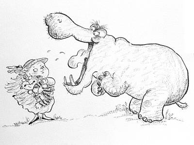 Book Illustrations Photograph - Im Not Scared Of You, Mr Hippo Ink & Crayon On Paper by Maylee Christie