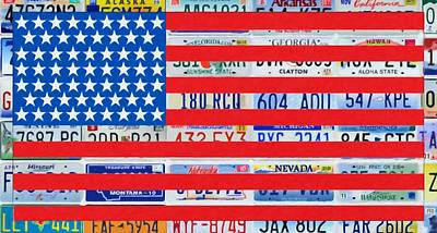 Americas Freedom Icon Painting - Image Of American Flag by Lanjee Chee