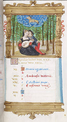 Image Of Lovers Playing The Lute Together Print by British Library