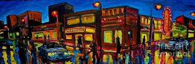 Store Fronts Painting - Imaginary Busy City Corner  by John Malone