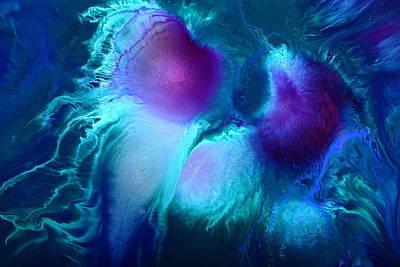 Imagination - Purple Blue Fluid Abstract Art By Kredart Print by Serg Wiaderny