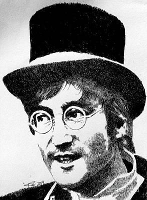 John Lennon Drawing - Imagine by Robbi  Musser