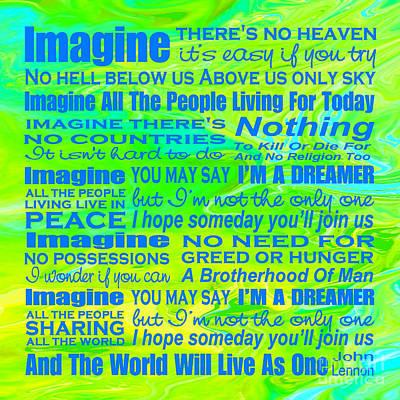 Imagine Song Lyrics - Landform Print by Ginny Gaura