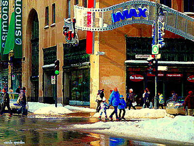 Montreal Painting - Imax Family Movie Day Cineplex Scotia Bank St Catherine Street Tim Hortons Cafe City Scene  by Carole Spandau
