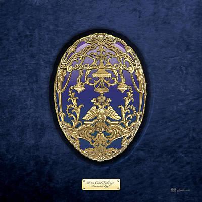 Imperial Faberge Eggs - Tsarevich Egg On Blue Velvet Original by Serge Averbukh