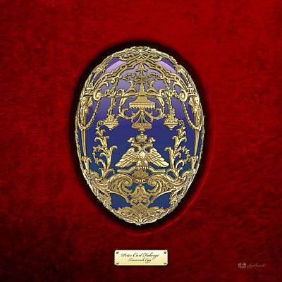 Imperial Faberge Eggs - Tsarevich Egg On Red Velvet Original by Serge Averbukh