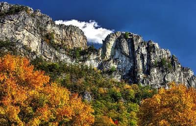 Imposing Seneca Rocks - Seneca Rocks National Recreation Area Wv Autumn Mid-afternoon Print by Michael Mazaika