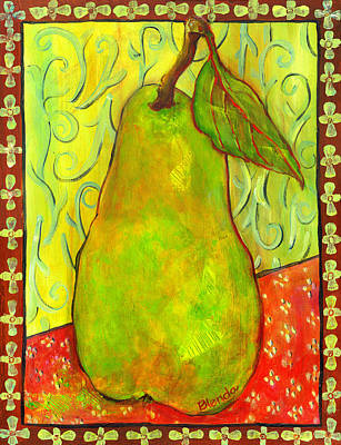 Pear Painting - Impressionist Style Pear by Blenda Studio