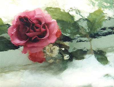 Impressionistic Abstract Green And Pink Rose Print by Kathy Fornal