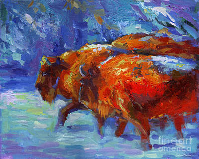 Impressionistic Landscape Painting - Impressionistic Buffalo Painting by Svetlana Novikova