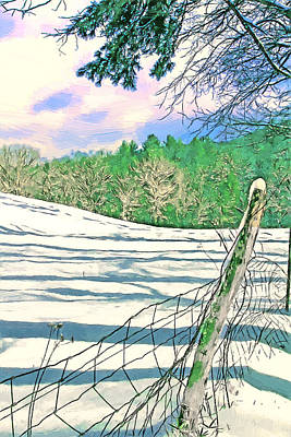 Impressions Of A Snow Covered Farm Print by John Haldane