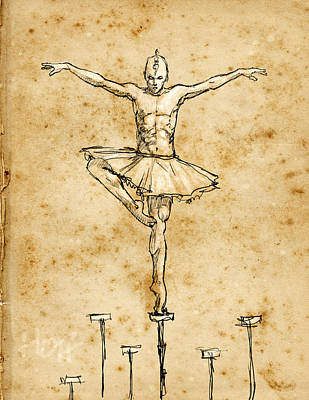 Tutus Drawing - In Balance by H James Hoff
