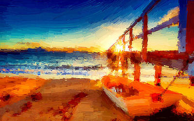 Sunset Painting - Boat On The Seashore by VRL Art