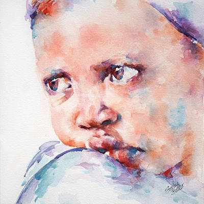 African Child Painting - In Despair by Stephie Butler