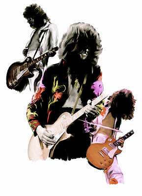 Musicians Drawing - In Flight Iv Jimmy Page  by Iconic Images Art Gallery David Pucciarelli